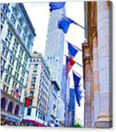 A Row Of Flags In The City Of New York 2 Canvas Print