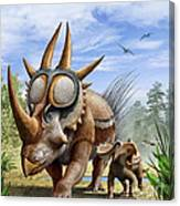 A Rubeosaurus And His Offspring Canvas Print