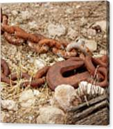 A Rusty Chain And Hook Canvas Print