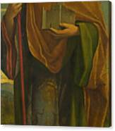 A Saint With A Fortress And A Banner Canvas Print