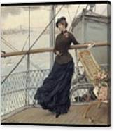A Scottish Lady On A Boat Arriving In New York Henry Bacon Canvas Print