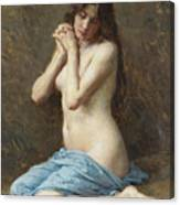 A Seated Nude With A Blue Drape Canvas Print