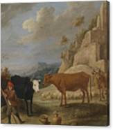 A Shepherd With His Flock In A Landscape With Ruins Canvas Print