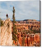 A Solitary Hiker Looks Canvas Print