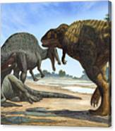 A Spinosaurus Blocks The Path Canvas Print