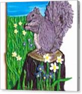 A Squirrel At His Snack Canvas Print