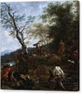 A Stag Hunt Nicolaes Claes Pietersz Berchem Canvas Print