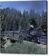 A Steam Engine Chugs Through A Mountain Canvas Print