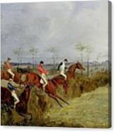 A Steeplechase - Taking A Hedge And Ditch Henry Thomas Alken Canvas Print
