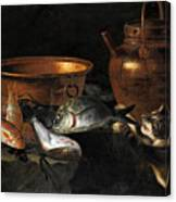 A Still Life Of Fish With Copper Pans And A Cat  Canvas Print