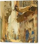 A Street Scene In Cairo Canvas Print