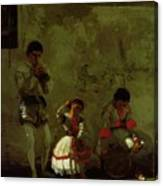 A Street Scene In Sevilla 1870 Canvas Print