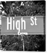 Hi - A Street Sign Named High Canvas Print