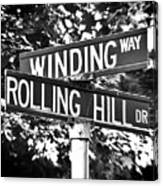 Wi - A Street Sign Named Winding Way And Rolling Hill Canvas Print