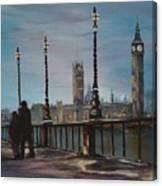 An Evening Stroll Along The Thames  Canvas Print