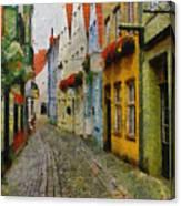 A Stroll Through The Street Canvas Print