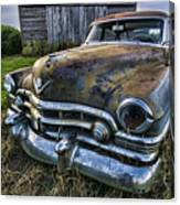 A Stylized Wide Angle Look At An Old Rusty Cadillac By A Cornfield Canvas Print