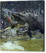 A Suchomimus Snags A Shark From A Lush Canvas Print