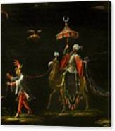 A Sultan Riding A Camel Led By A Driver Canvas Print