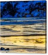 A Sunset In A River Of Ice Canvas Print