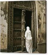 A Swahili Woman Enters A Building Canvas Print