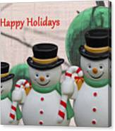A Three Snowman Holiday Canvas Print