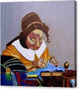 A Tribute To Vermeer  The Lacemaker Canvas Print