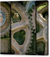 A Triptych Of Old Gears Canvas Print