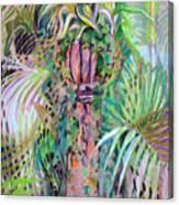 A Tropical Basket On A Post Canvas Print
