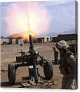 A U.s. Marine Corps Gunner Fires Canvas Print