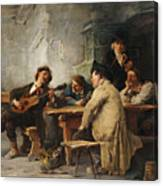 A Vagrant Ministrel In A Tavern Canvas Print