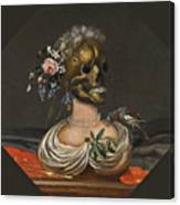 A Vanitas Bust Of A Lady With A Crown Of Flowers On A Ledge Canvas Print