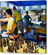 A Vendor At The Garlic Fest Offers Garlic Vinegar And Olive Oil For Sale Canvas Print