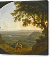 A View Across The Alban Hills With A Hilltop On The Right And The Sea In The Far Distance Canvas Print