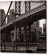 A View From The Bridge - Manhattan Bridge New York Canvas Print