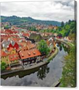 A View Of Cesky Krumlov And The Vltava River In The Czech Republic Canvas Print