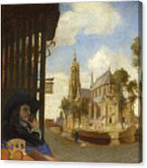 A View Of Delft With A Musical Instrument Seller's Stall Canvas Print