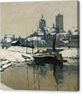 A View Of Neuss In Winter Canvas Print