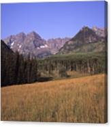 A View Of The Maroon Bells Mountains Canvas Print