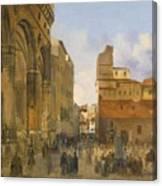 A View Of The Piazza Della Signoria Canvas Print