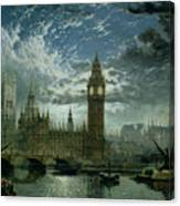 A View Of Westminster Abbey And The Houses Of Parliament Canvas Print