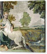 A Virgin With A Unicorn Canvas Print