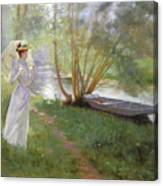 A Walk By The River Canvas Print