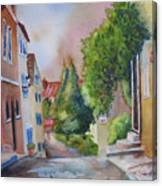 A Walk In The Village Canvas Print