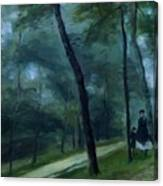 A Walk In The Woods Madame Lecoeur And Her Children 1870 Canvas Print