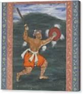 A Warrior Brandishing A Sword Canvas Print