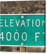 A Weathered Elevation Sign On Highway Canvas Print