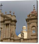 A Well Placed Ray Of Sunshine - Noto Cathedral Saint Nicholas Of Myra Against A Cloudy Sky Canvas Print