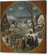 A Winter Landscape With Figures Skating Canvas Print