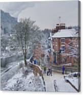 A Wintry Street Scene In Ironbridge Gorge England Canvas Print